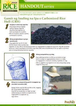 gamit ng carbonized rice hull